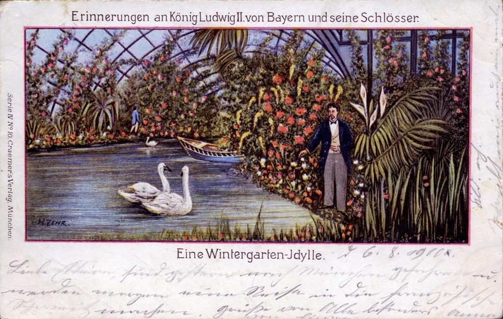 Louis II de Bavière,  et ses châteaux  - Page 3 Wintergarten-Idylle-AK-gel-1900