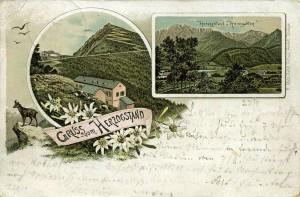 Seltene Lithographie von 1895: Königshaus noch mit Aussichtsplattform