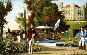 """""""Tristan"""" mit Ludwig II. vor Schloss Berg gemalt von Erich Correns 1867 (Ansichtskarte von 1914)"""