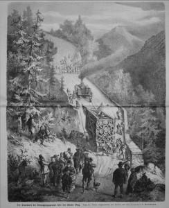 Den spektakulären Transport des Monuments zeigt ein Stich aus dem Jahr 1875