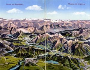 Ludwig erklomm schon als Kind die umliegenden Berge (Klapp-Postkarte um1900 - Sammlung: H.K.)