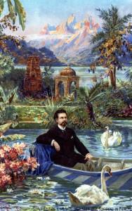 AK mit Aquarell von Fitz Bergen um 1890 - Der König in einer nachgebauten Kulisse von 1887 (Sammlung HK)