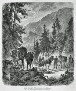 König Ludwigs Auffahrt nach dem Schachen - Stich von 1873 (Sammlung HK)