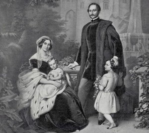Königsfamilie in Hohenschwangau - Zeichnung von Erich Correns (Druck von 1899 - Sammlung H.K.)