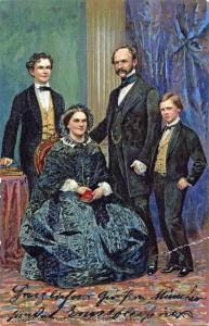 König Max II. und Marie mit den Söhnen Ludwig und Otto (AK gel 1900 Sammlung HK)