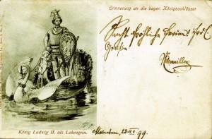 Postkarte von 1899: Ludwig II. als Lohengrin (Sammlung: H.K.)