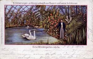 """Ludwig II. in seinem """"Dschungel"""" - AK um 1900 (Sammlung HK)"""
