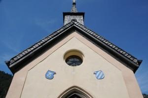 Kapelle mit Ludwig-Initialen und Wittelsbacher Rauten (Foto: H.K.)