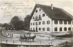 Historische Aufnahme des Gasthof Post mit Pferdefuhrwerk - AK gel 1918 (Sammlung: HK)