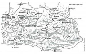 Ludwigs Bergresidenzen und Talquartiere (Zeichnung: Sebastian Schrank, Alpenvereinsjahrbuch Berg 91)